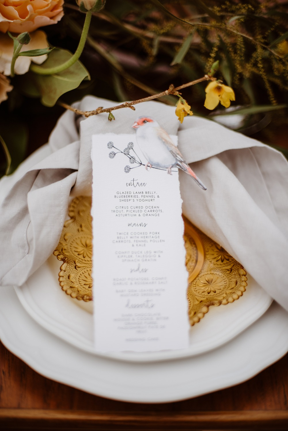Bird wedding menu