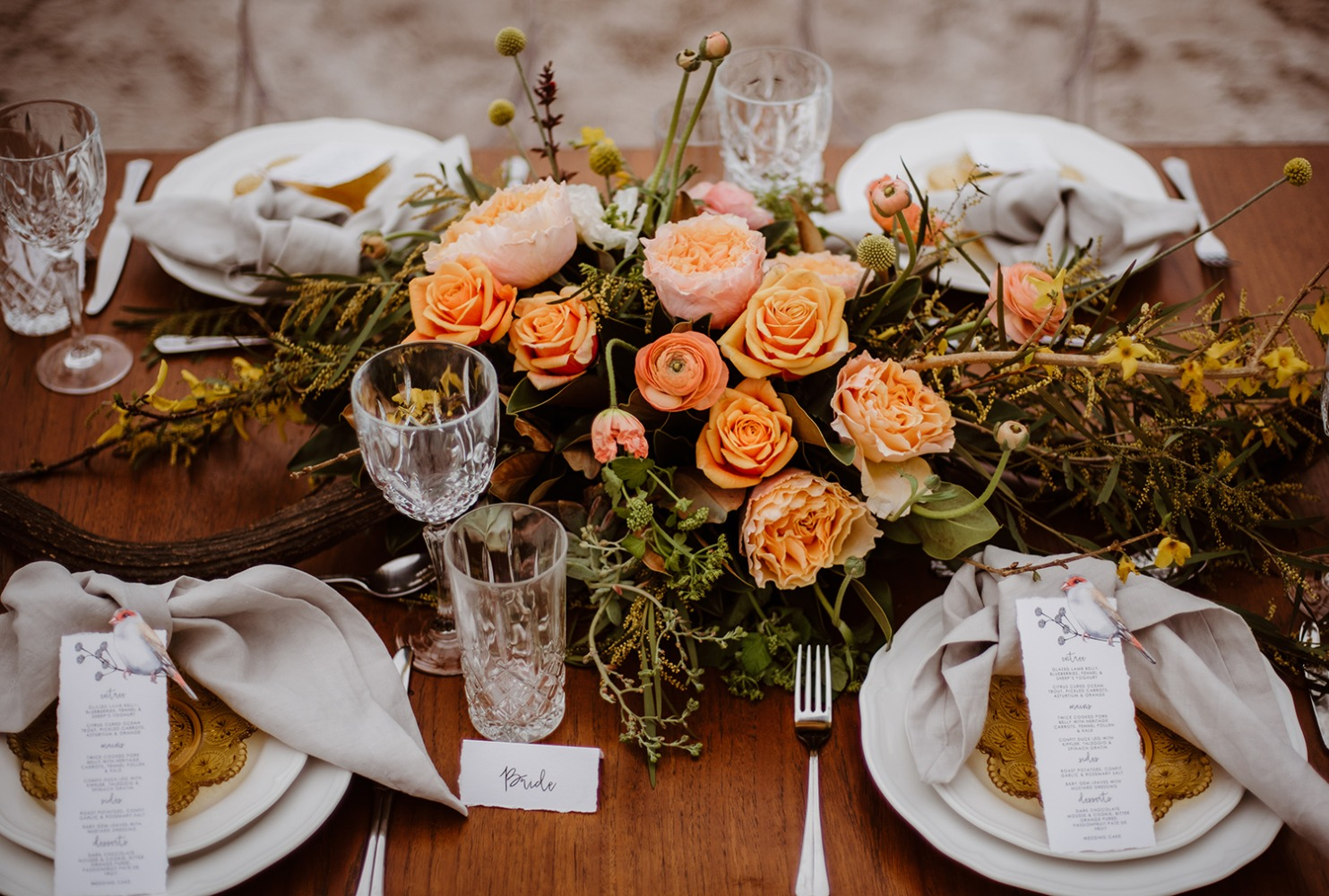 Bright peach rose centerpiece