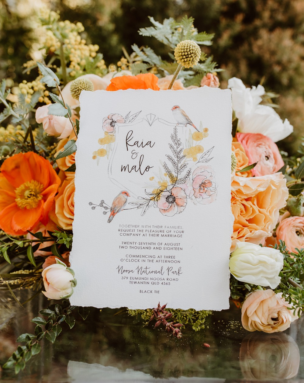 Bird wedding invitation suite