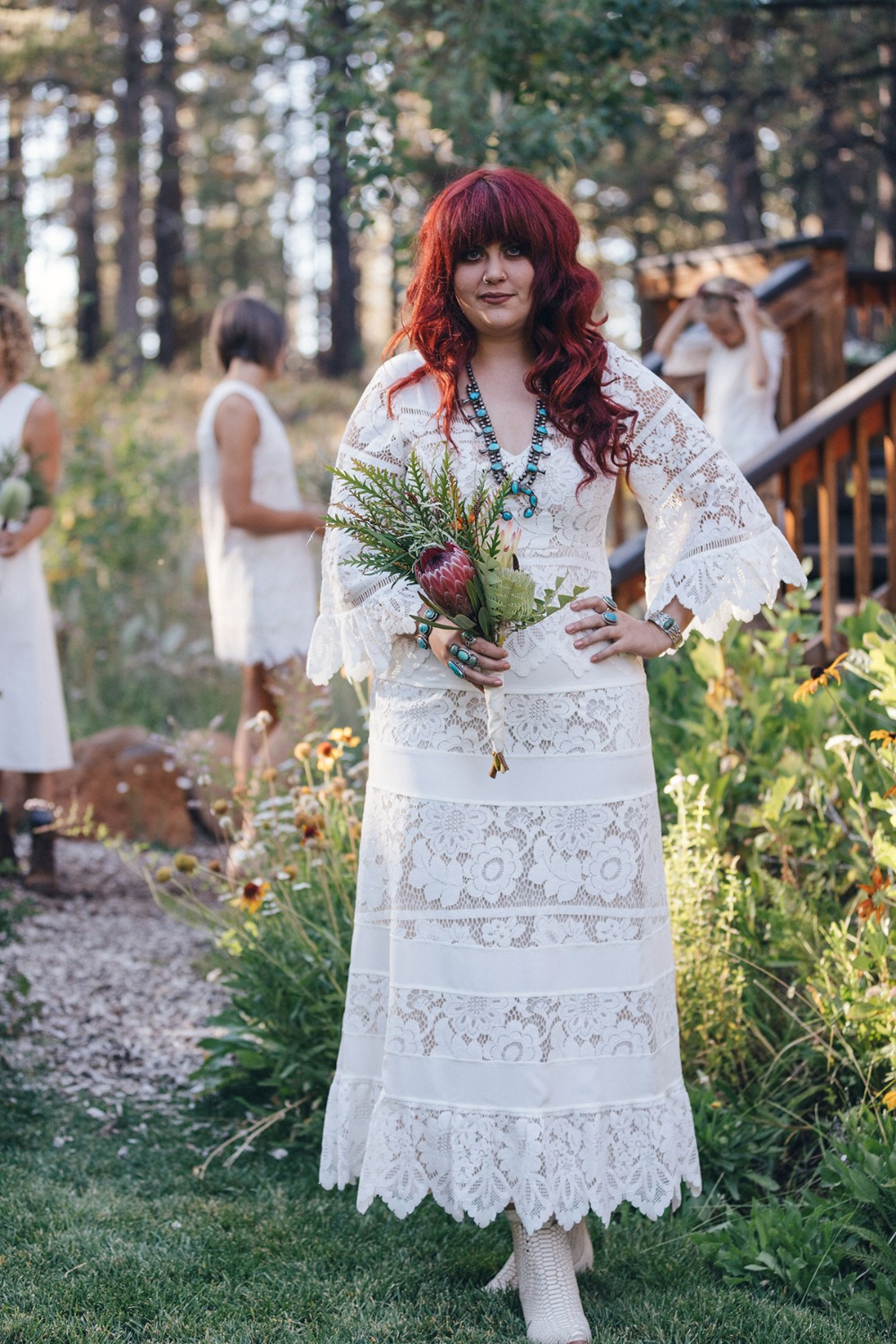 boho bride in lace BHLDN dress