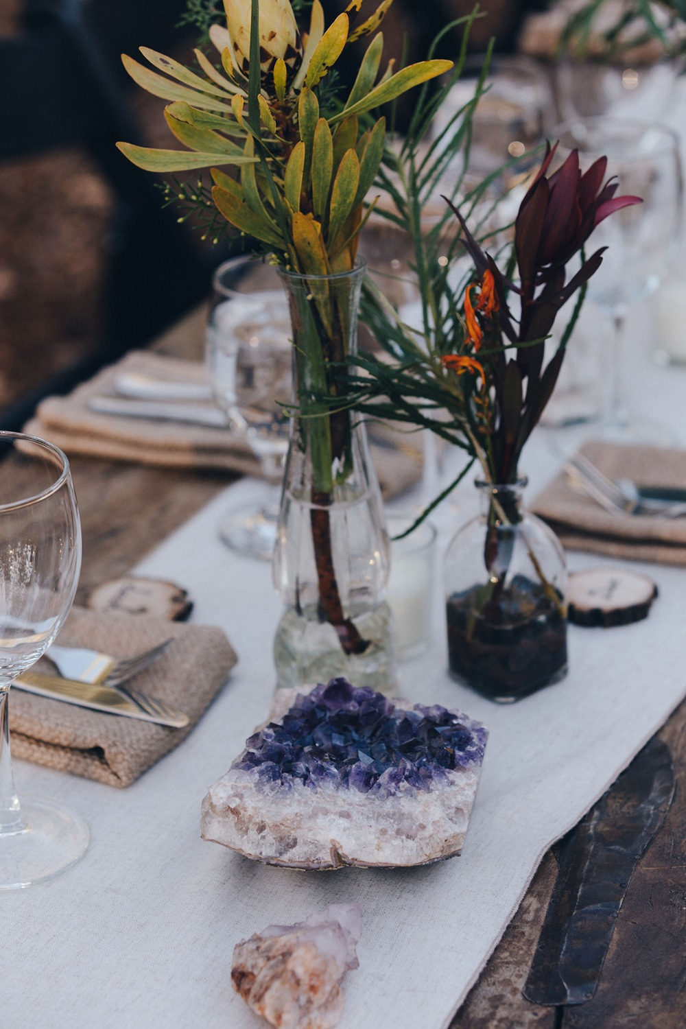 new age and rustic chic wedding table decor
