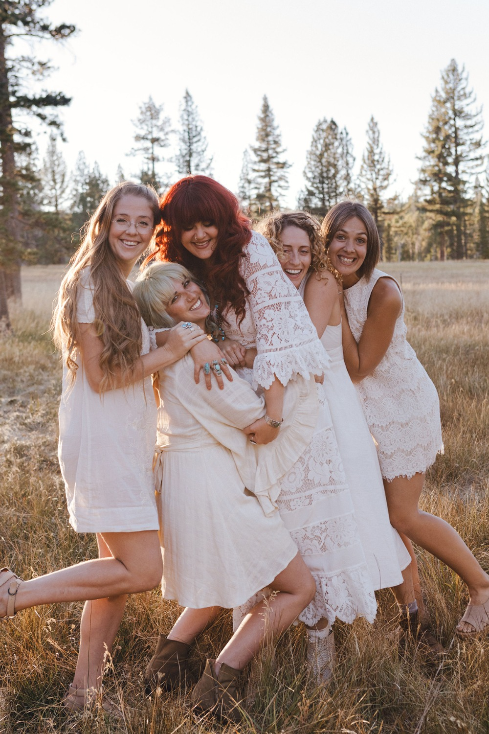 boho new age wedding party