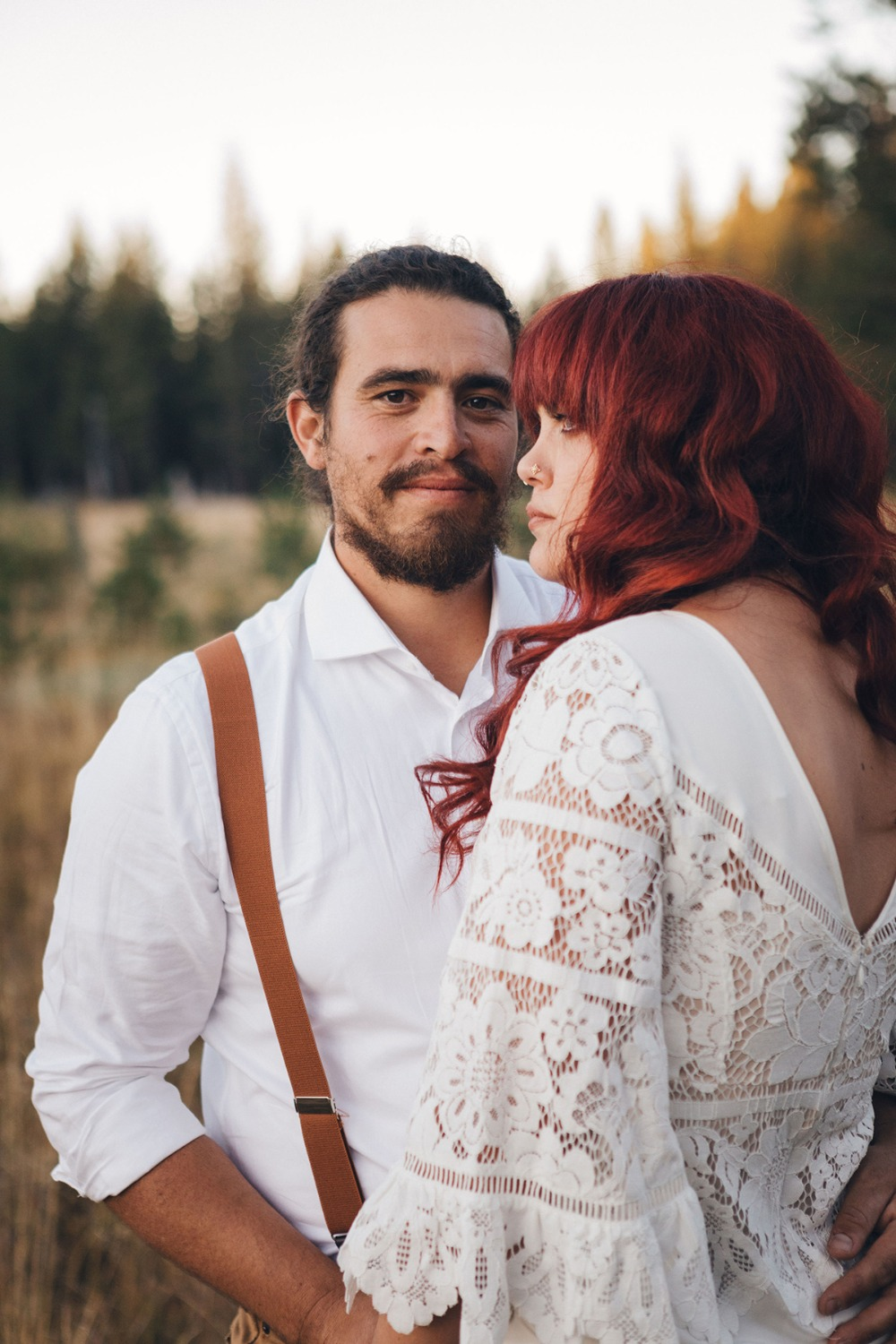 boho new age wedding couple