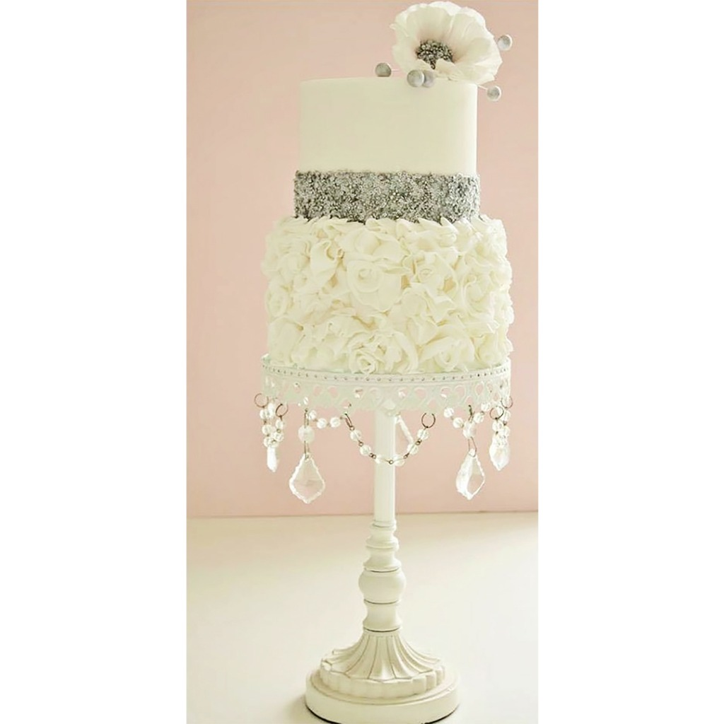White Chandelier Pedestal Base Wedding Cake Stand created by Opulent Treasures { Wedding Cake by Cotton and Crumbs }