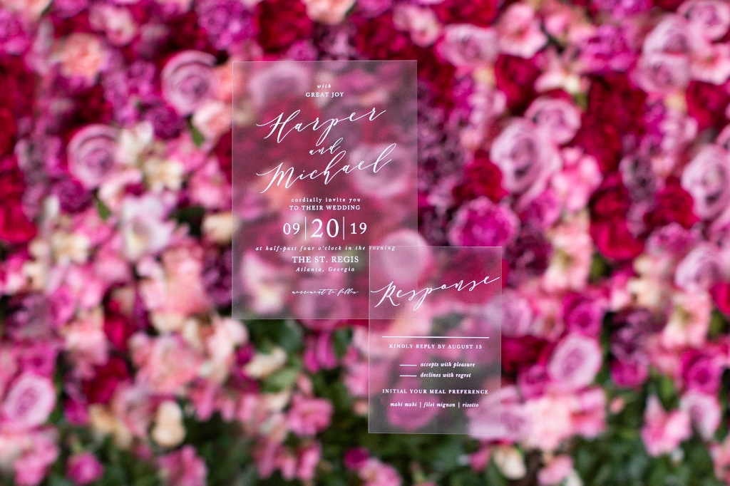 These Modern Calligraphy Wedding Invites may be clear, but they catch everyones eye!