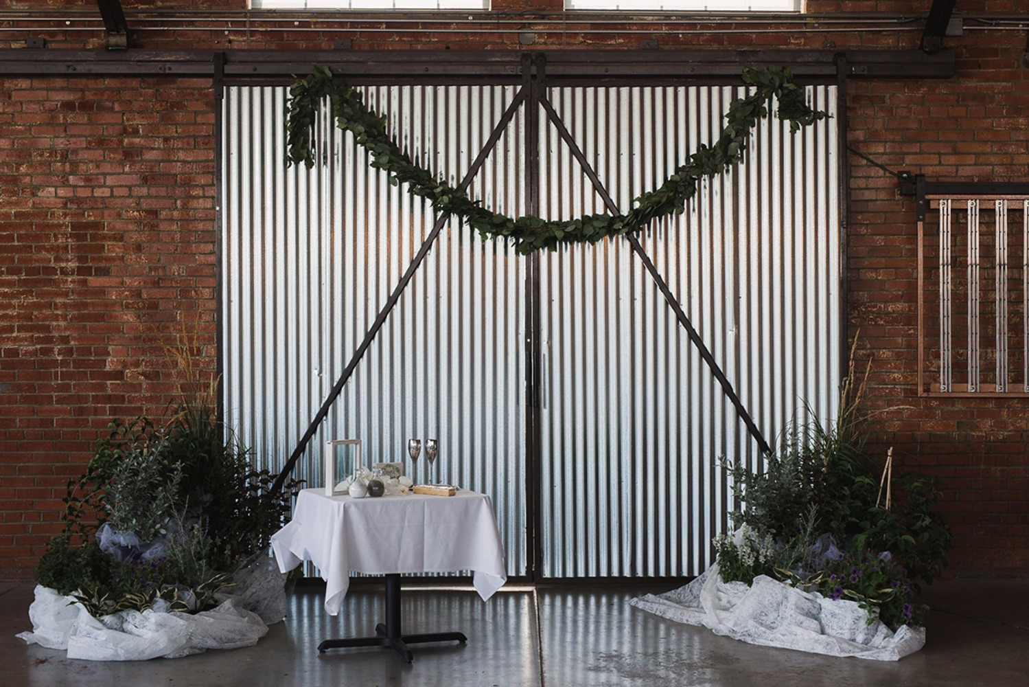 industrial chic wedding ceremony