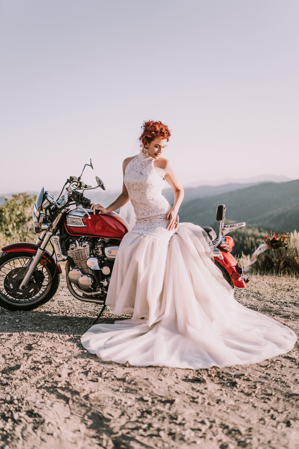 Betsy Couture Vintage Wedding Gown with detachable skirt
