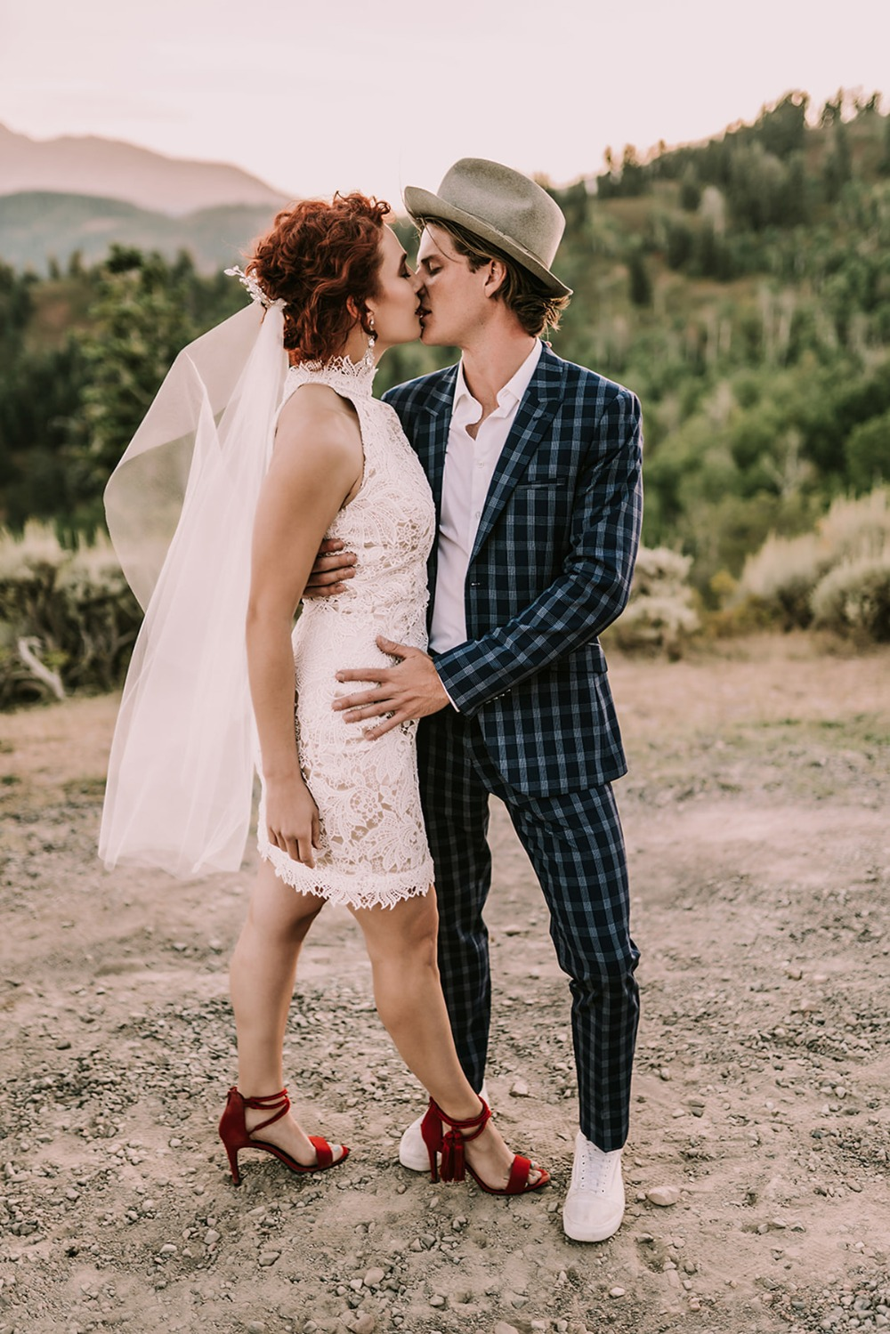 Stylish after-wedding shoot of the bride and groom