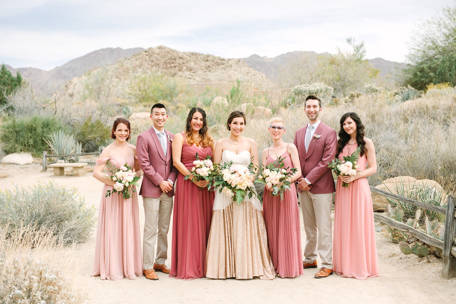 Mismatched bridesmaid/men dresses