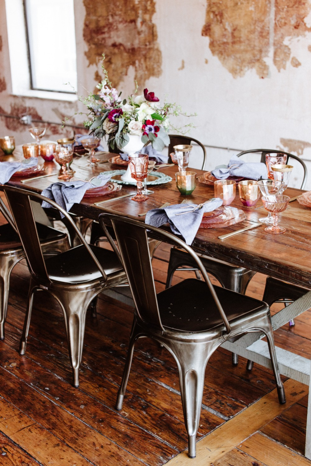 Industrial chic reception table