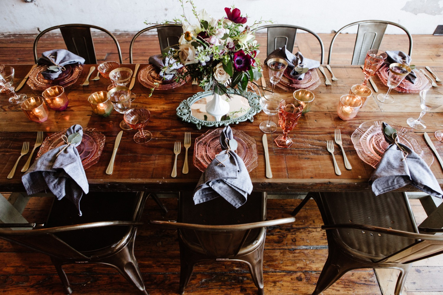 Rustic industrial reception table design