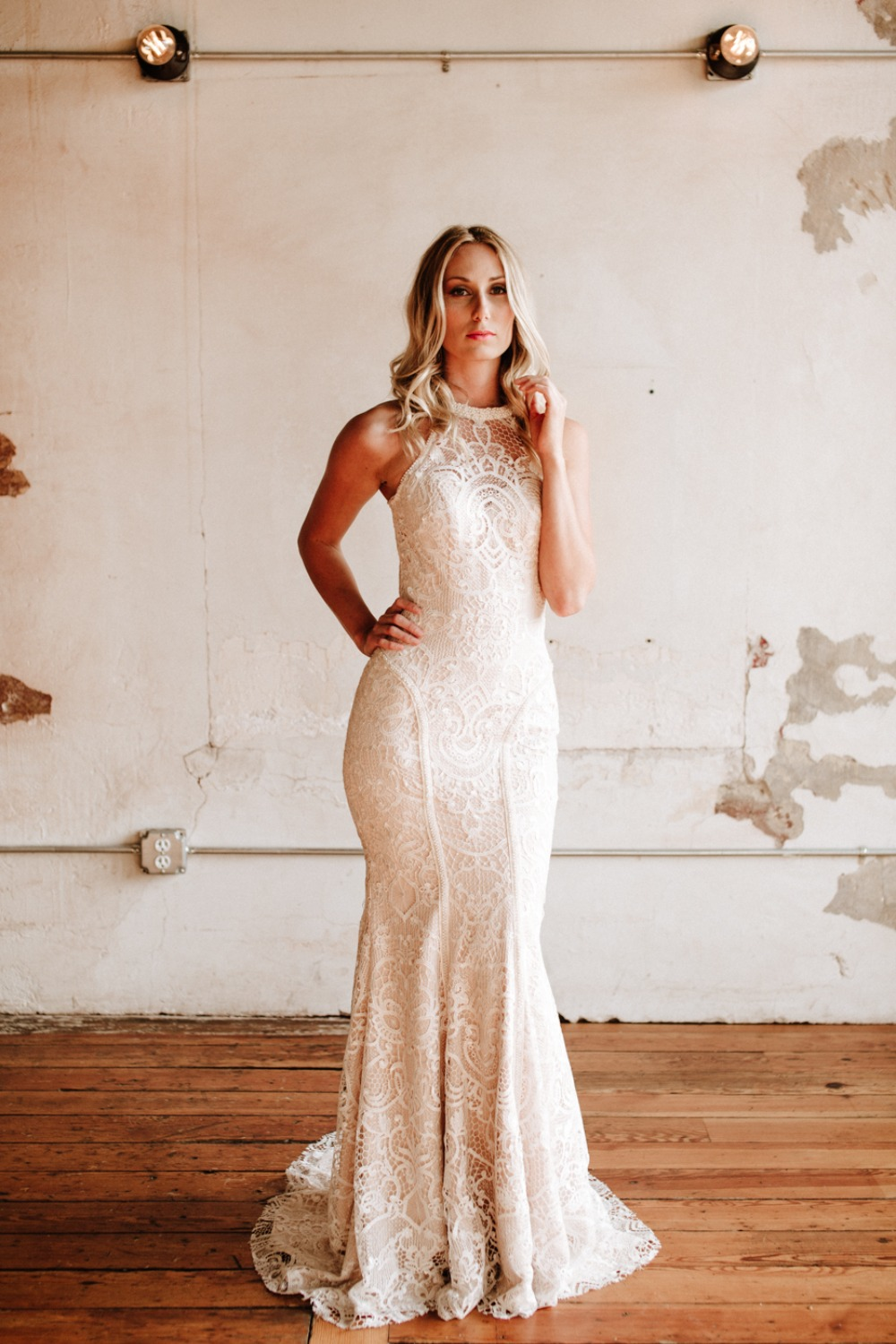 Custom made lace wedding dress from Angela Kim Couture