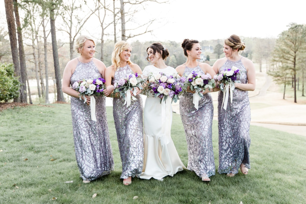 bridesmaids in rent the runway dresses