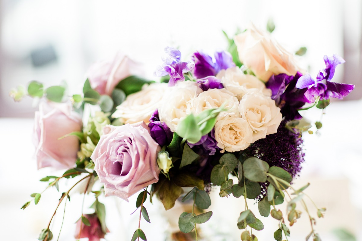 purple and white floral decor