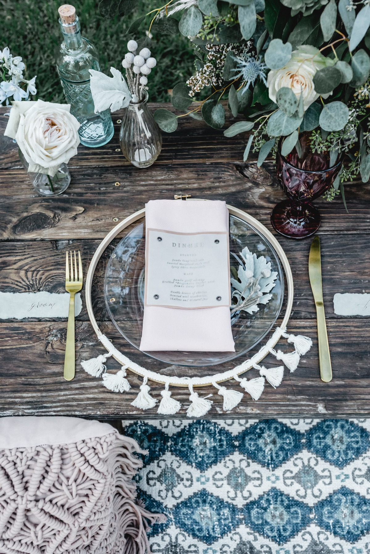 boho inspired sweetheart table