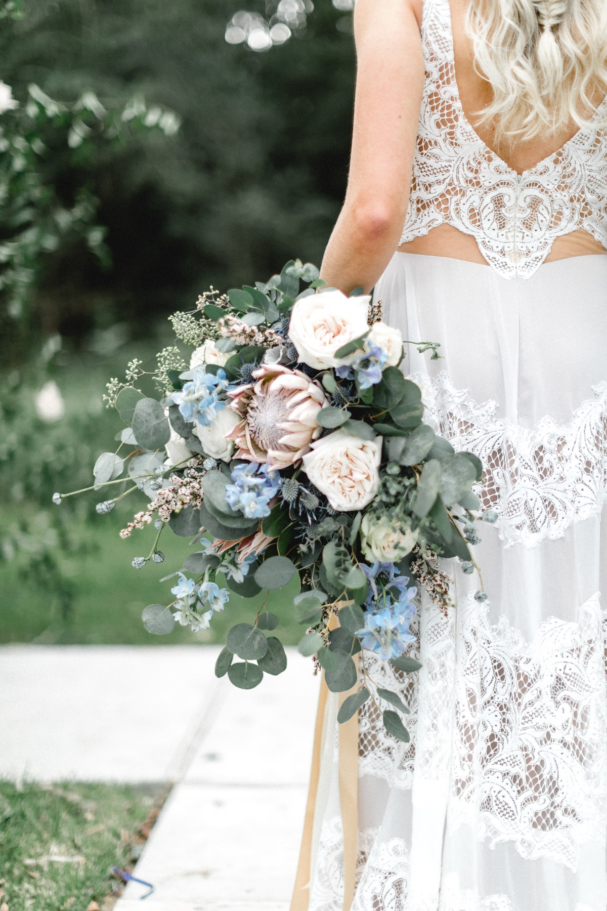 pastel bouquet in blue and blush