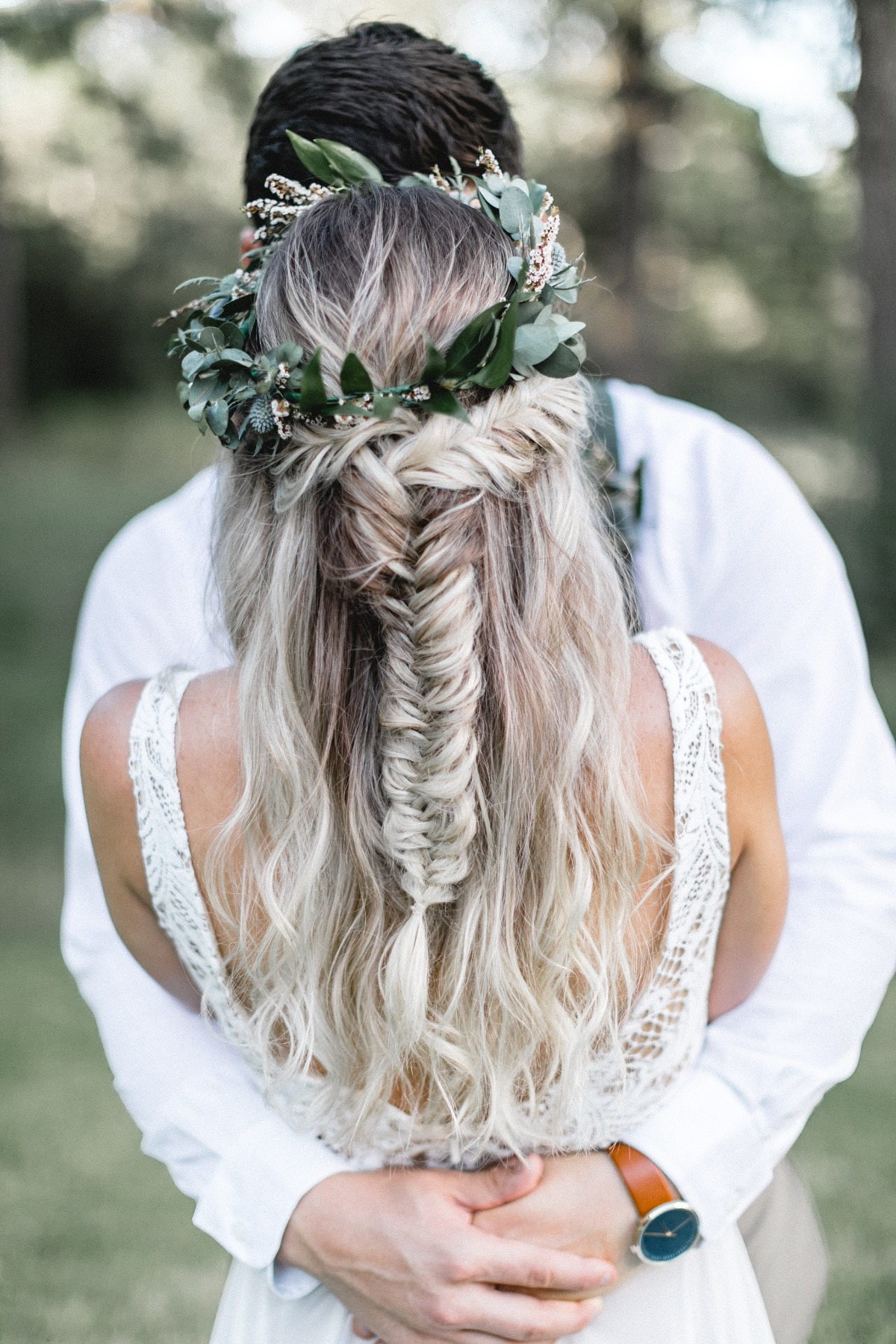 fishtail half up braided hair