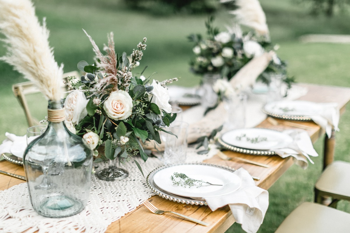wedding table with natural theme