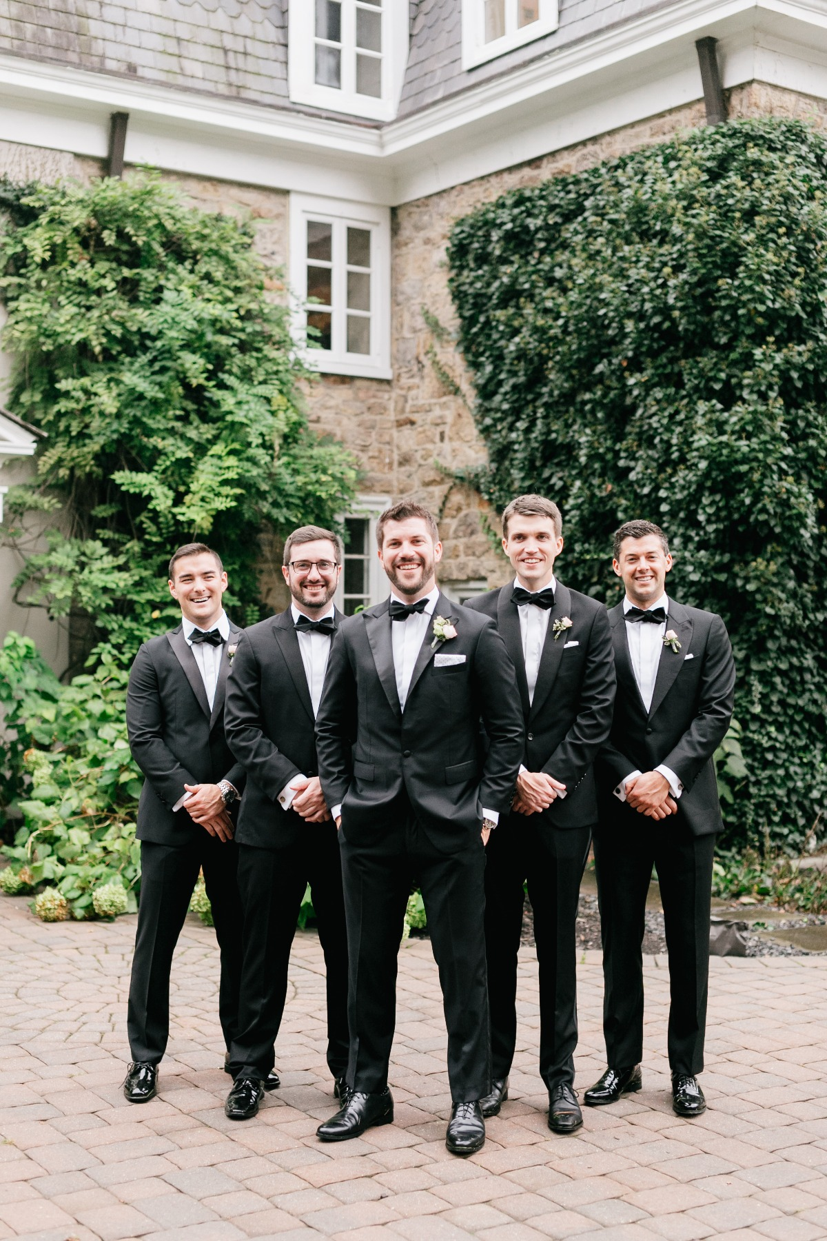 Classic black tie look for the groomsmen
