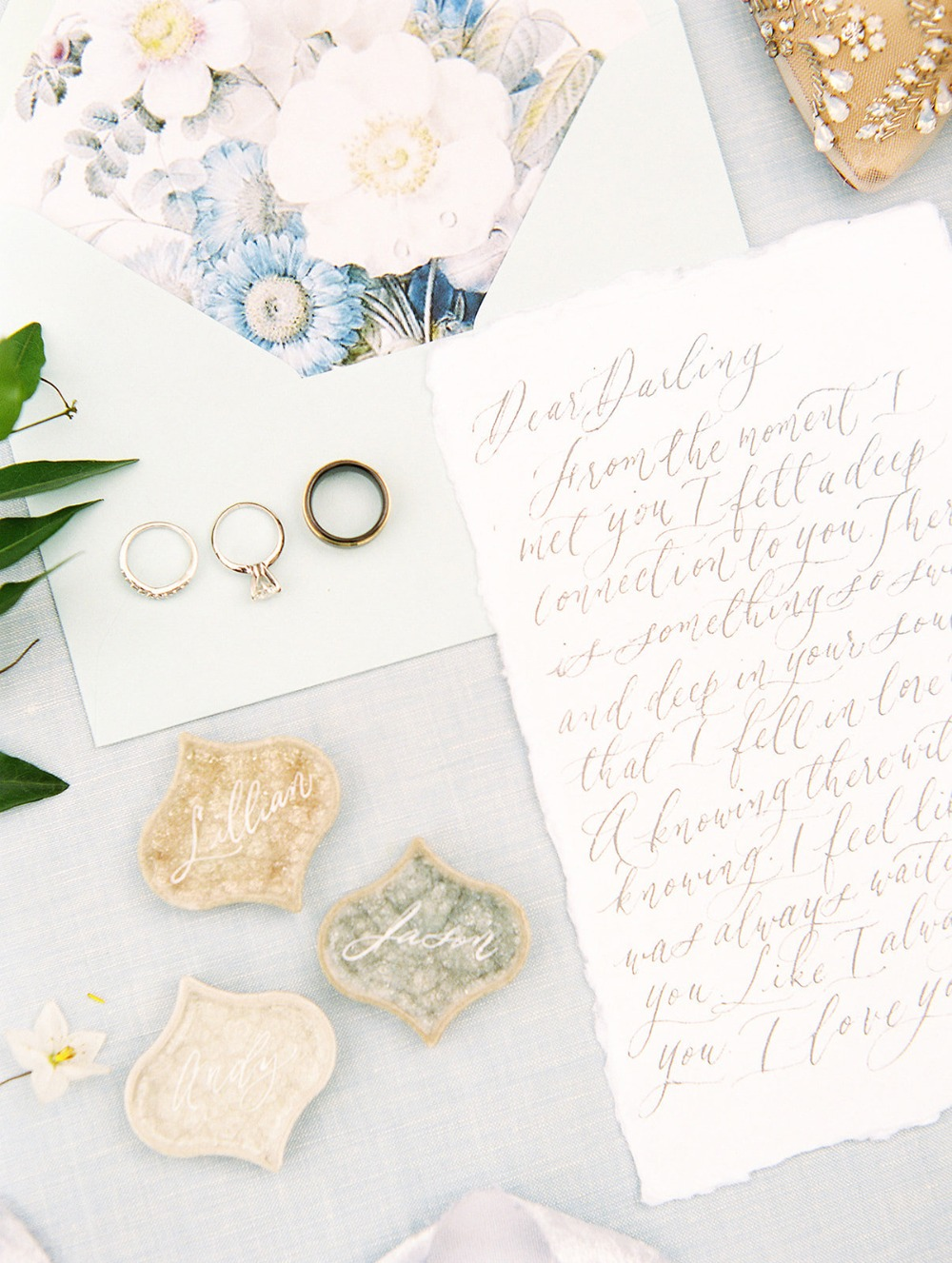 wedding letter and rings