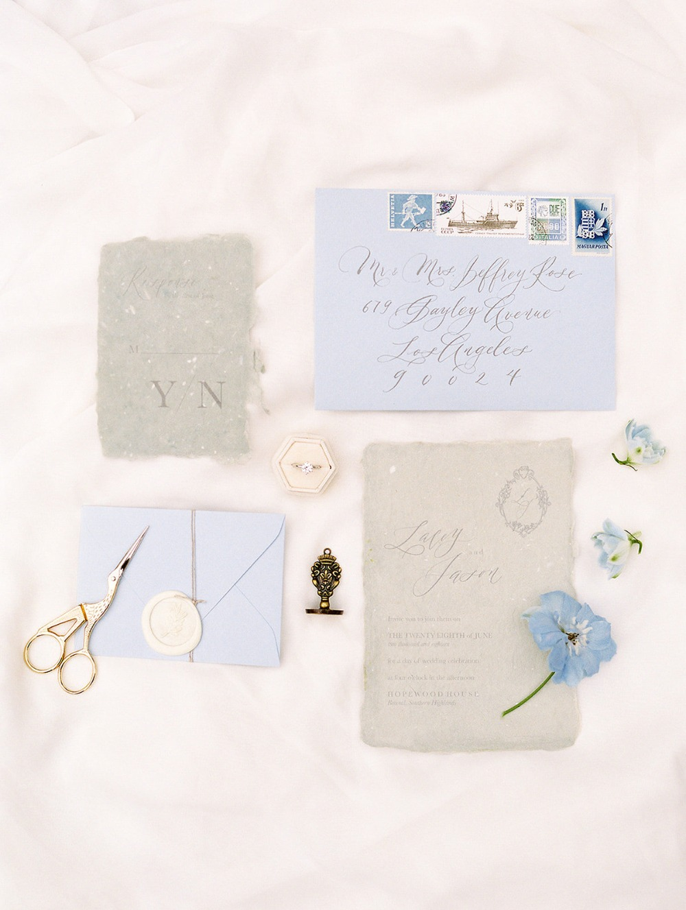 soft blue and grey wedding invitation