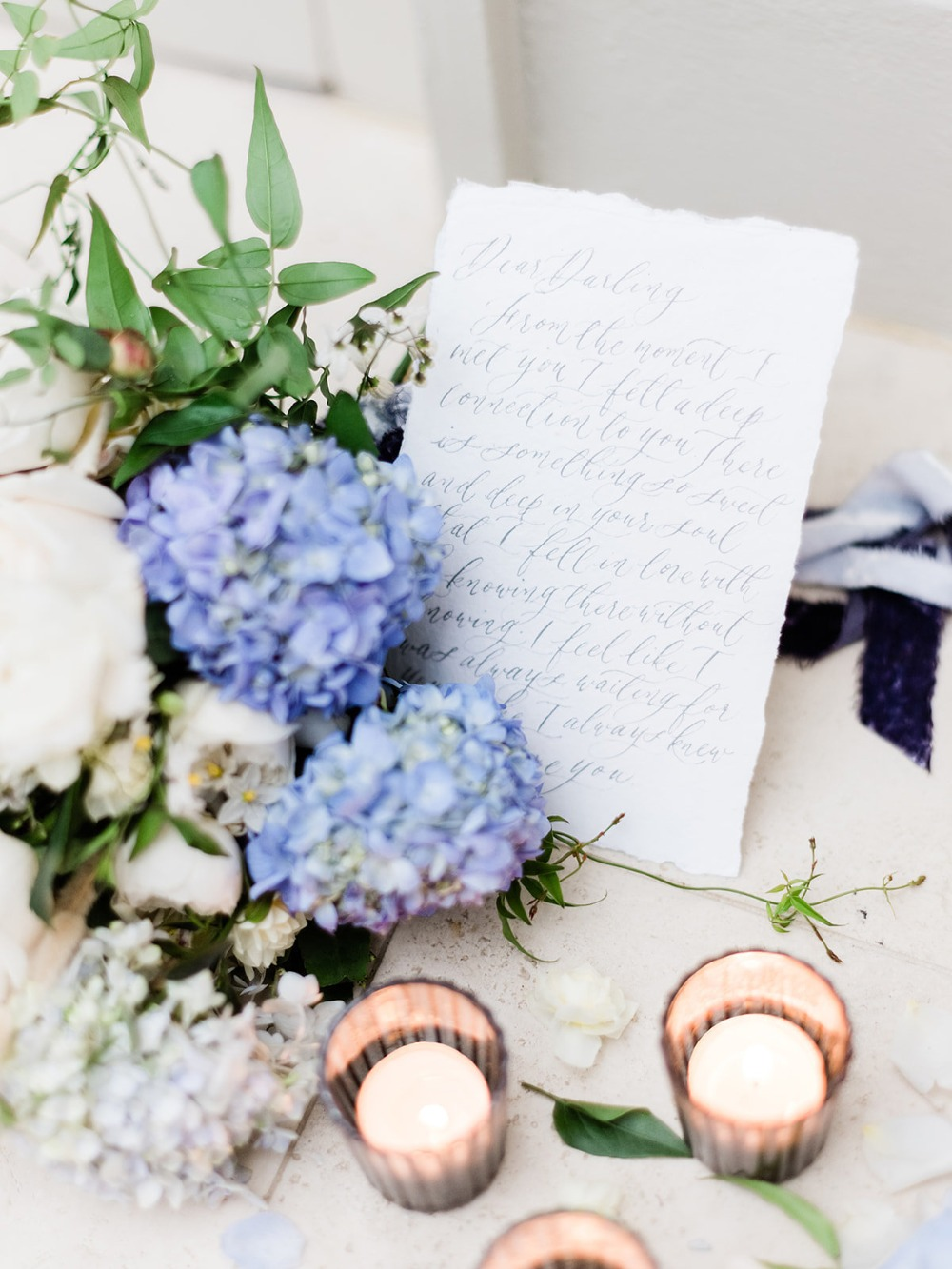 wedding letter and wedding flowers