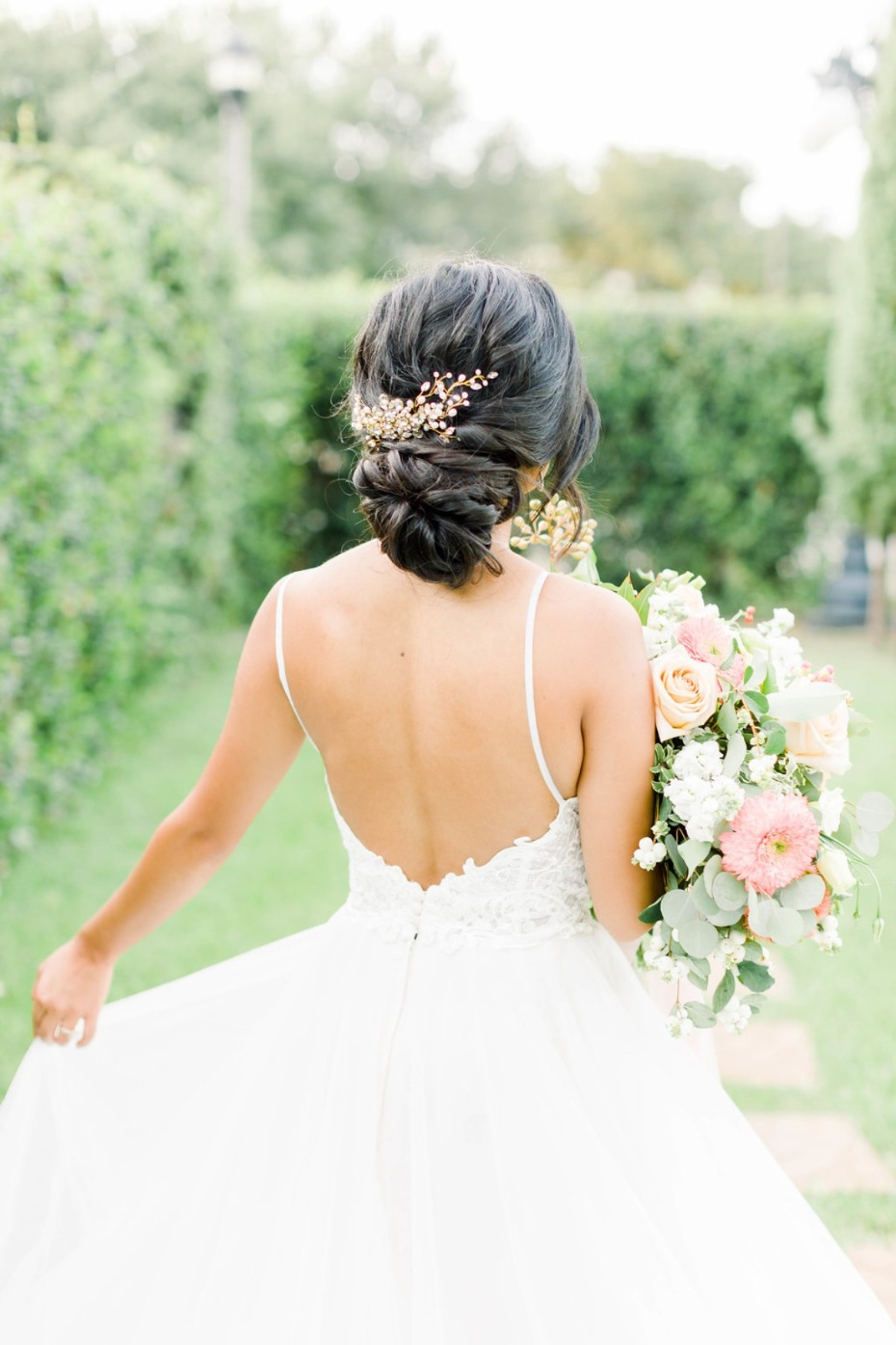 Wedding hair in a low bun