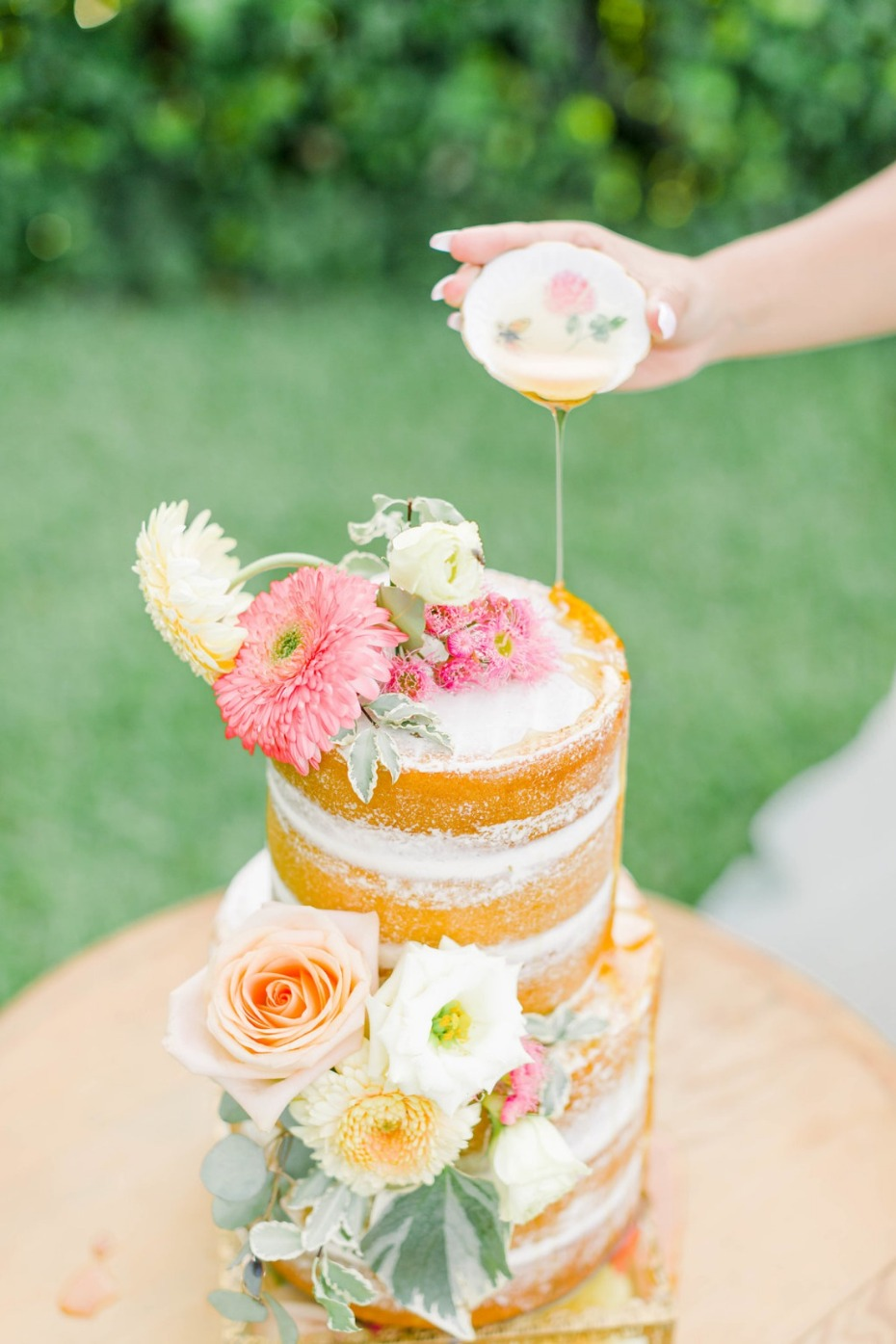 Naked cake with honey drizzle