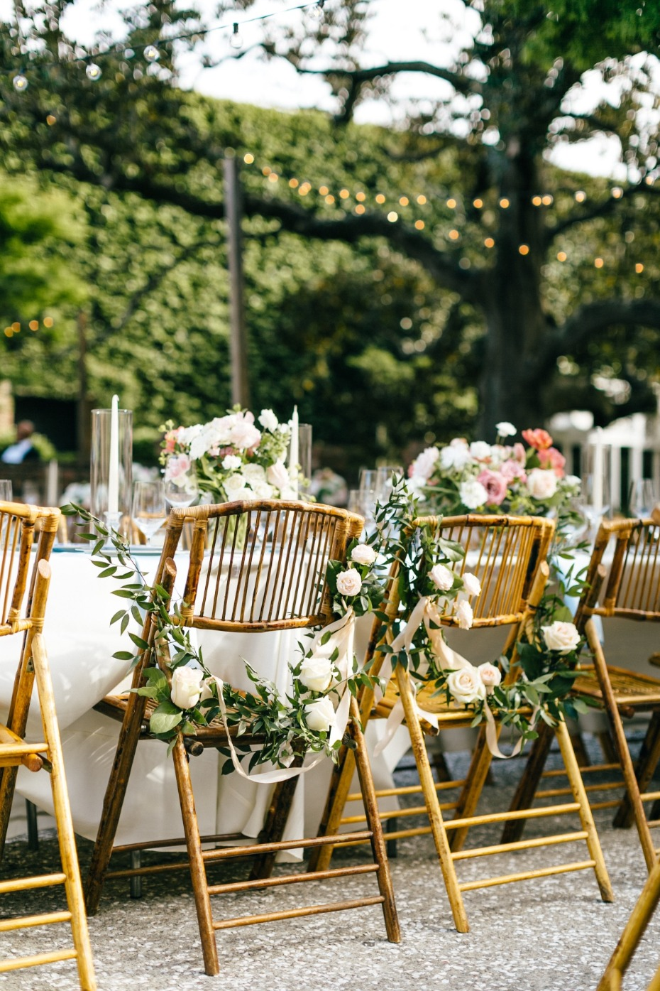 Wedding chairs covered in flowers