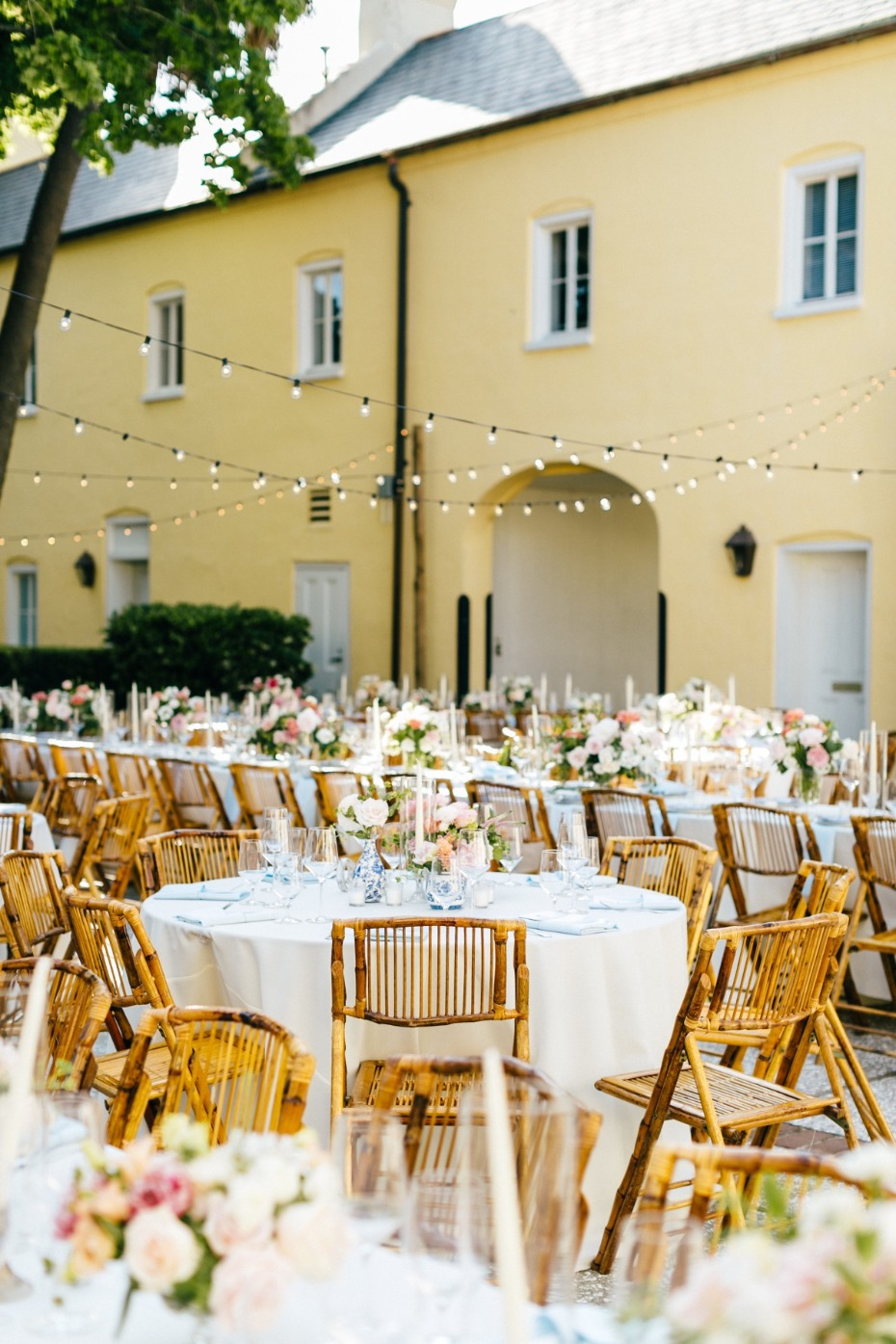 Chic outdoor reception with bistro lights