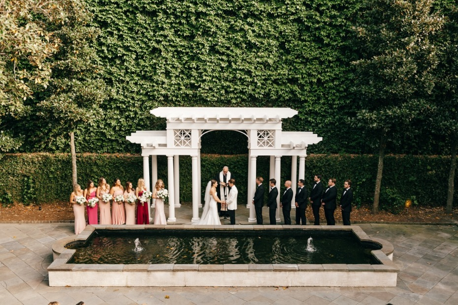Classic black and white wedding with pops of color