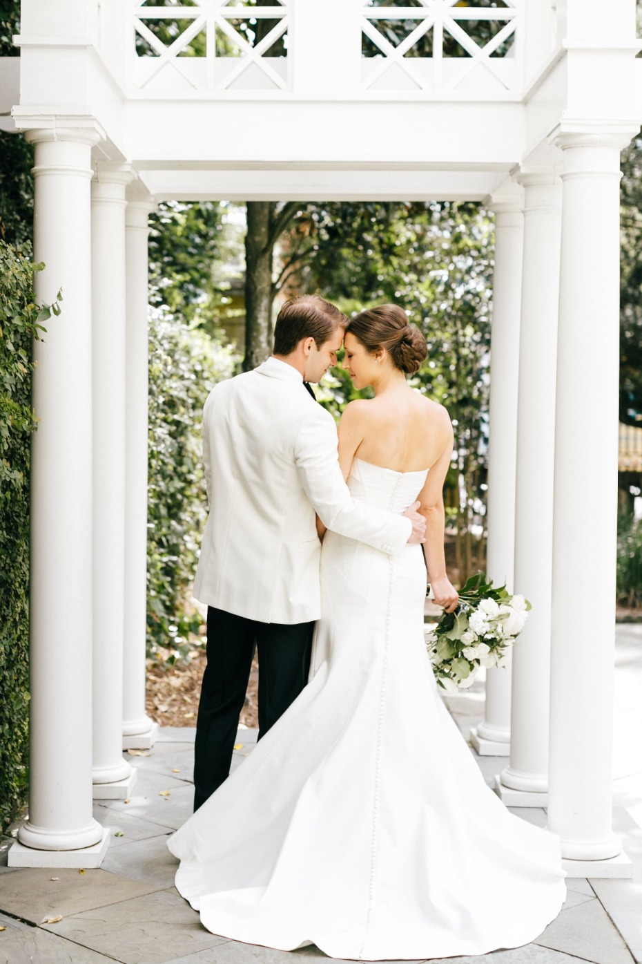 Classic modern black and white wedding with pops of color