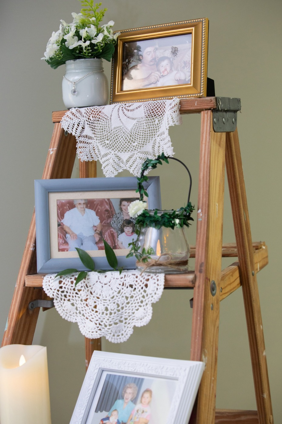shabby chic family wedding photo display