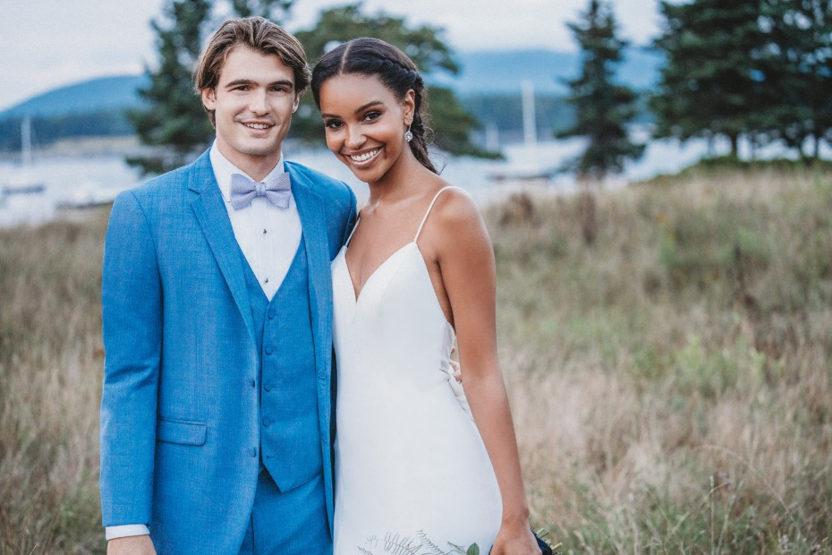 Allure Bridals Style 9603 and Cornflower Tux for Him