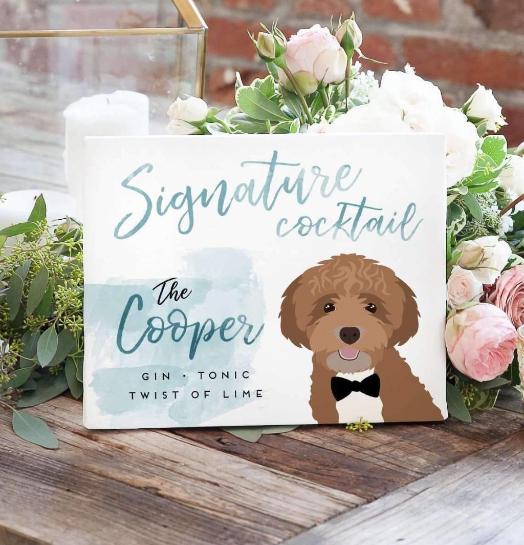This super cute Watercolor Signature Cocktail Sign with Pet Portrait features your pet alongside your signature cocktail!! We'll design