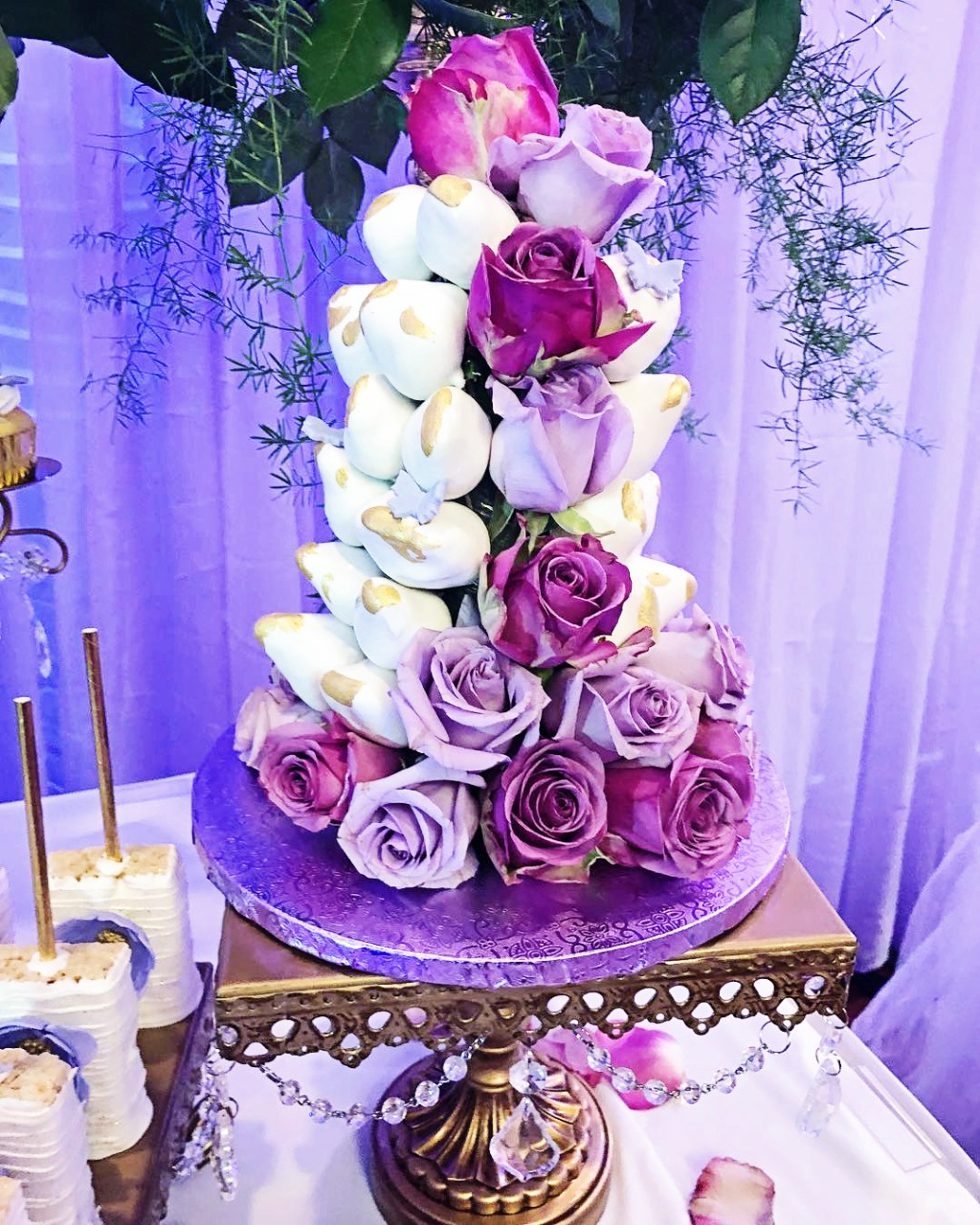 Dipped Strawberry & Roses Tower by Steph's Sweet Creations on Opulent Treasures Antique Gold Chandelier Cake Stand