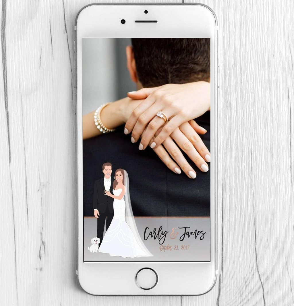 Here at Miss Design Berry, we LOVE Snapchat filters! This awesome Wedding Snapchat Filter with Couple Portrait will add a little extra