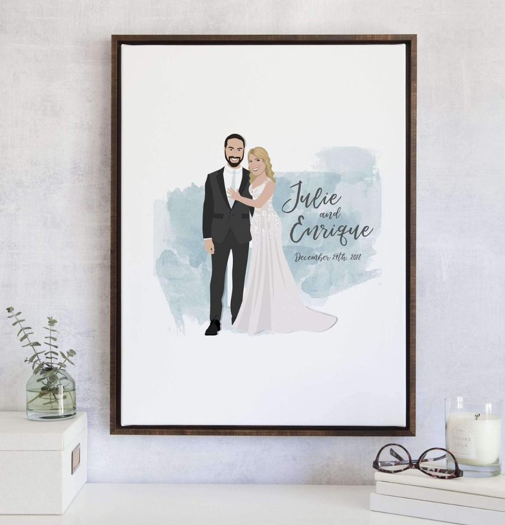 This limited edition design was brought back due to popular demand!! Our Watercolor Wedding Guest Book Alternative with Couple Portrait
