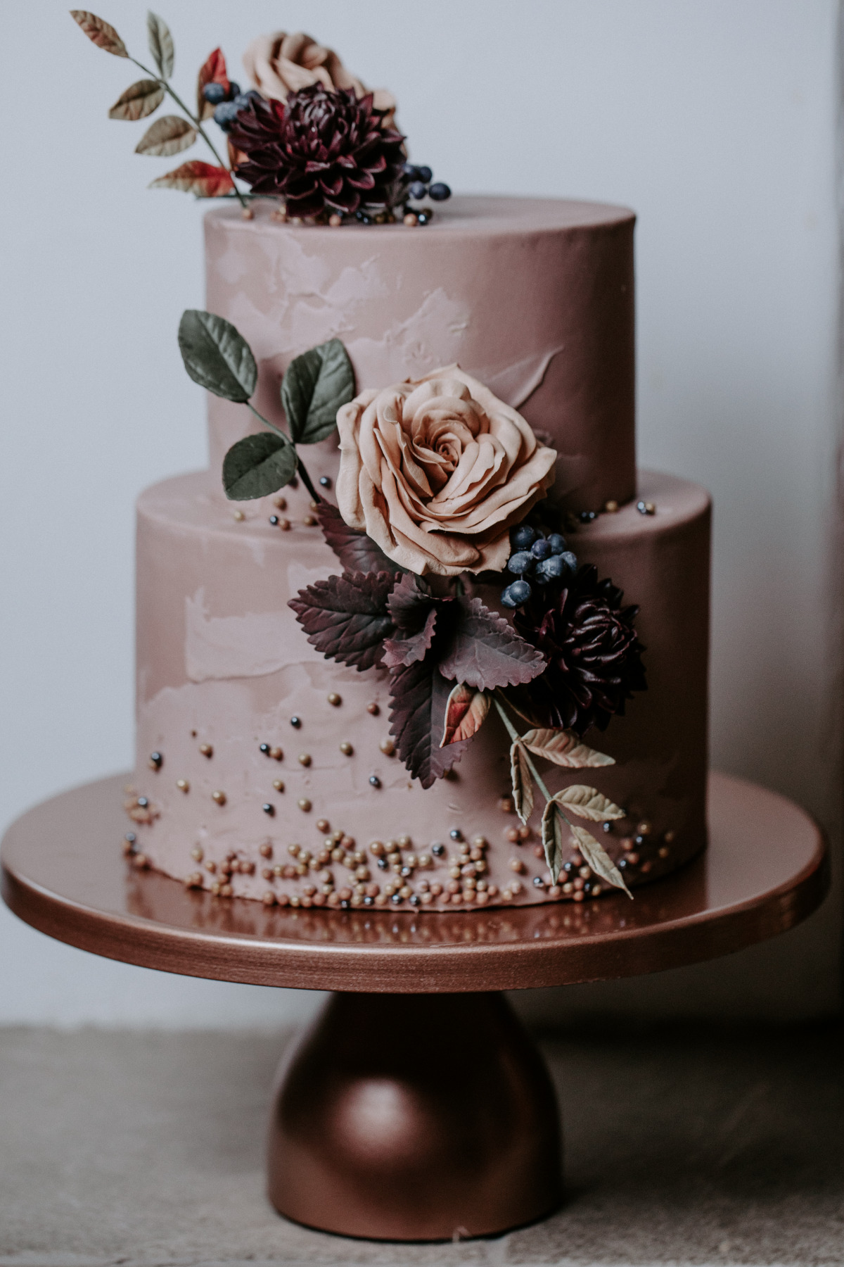 Dark blush wedding cake