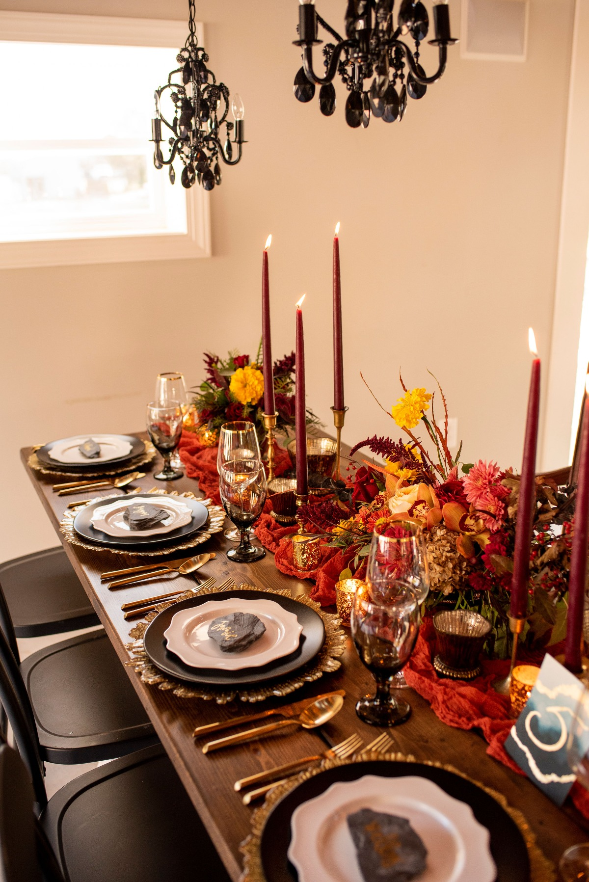 Moody fall wedding table decor