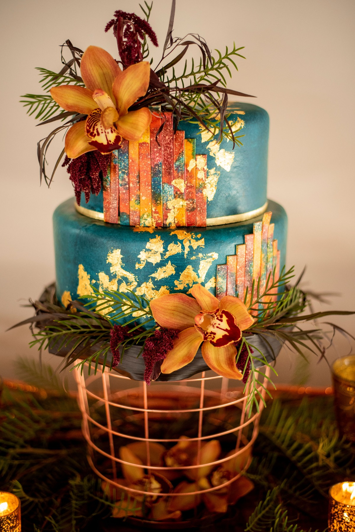 Teal and gold wedding cake by Carolina Sugar Fairy