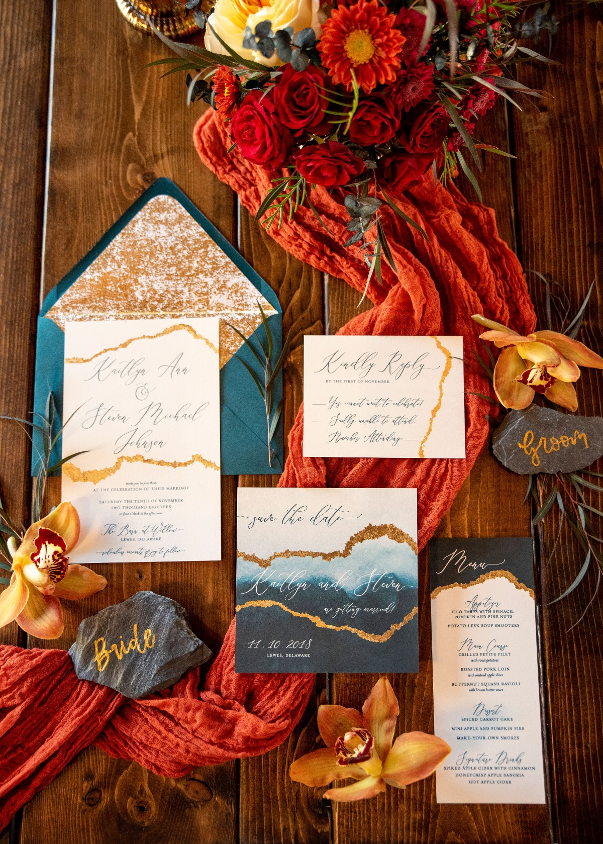 Geode wedding invitation suite in teal and gold