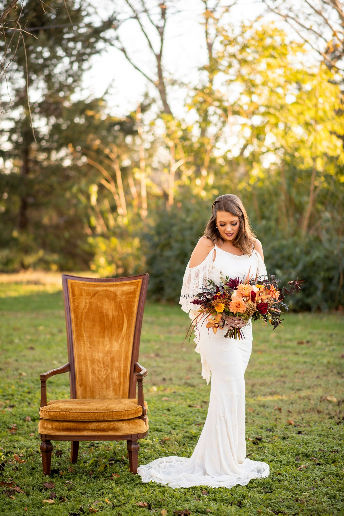 Boho lace wedding dress from Miss Madison Couture Boutique