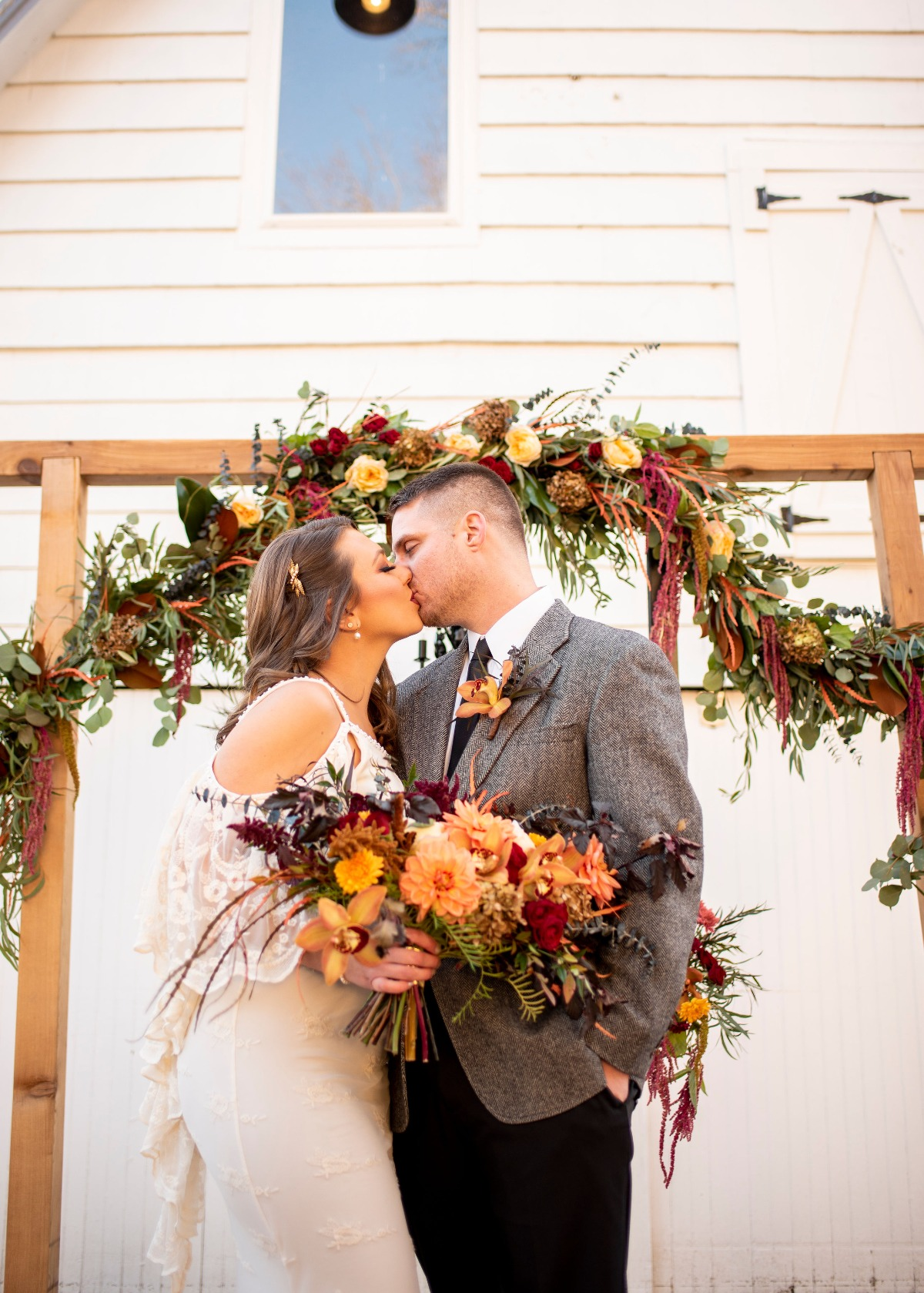 Boho fall wedding ceremony