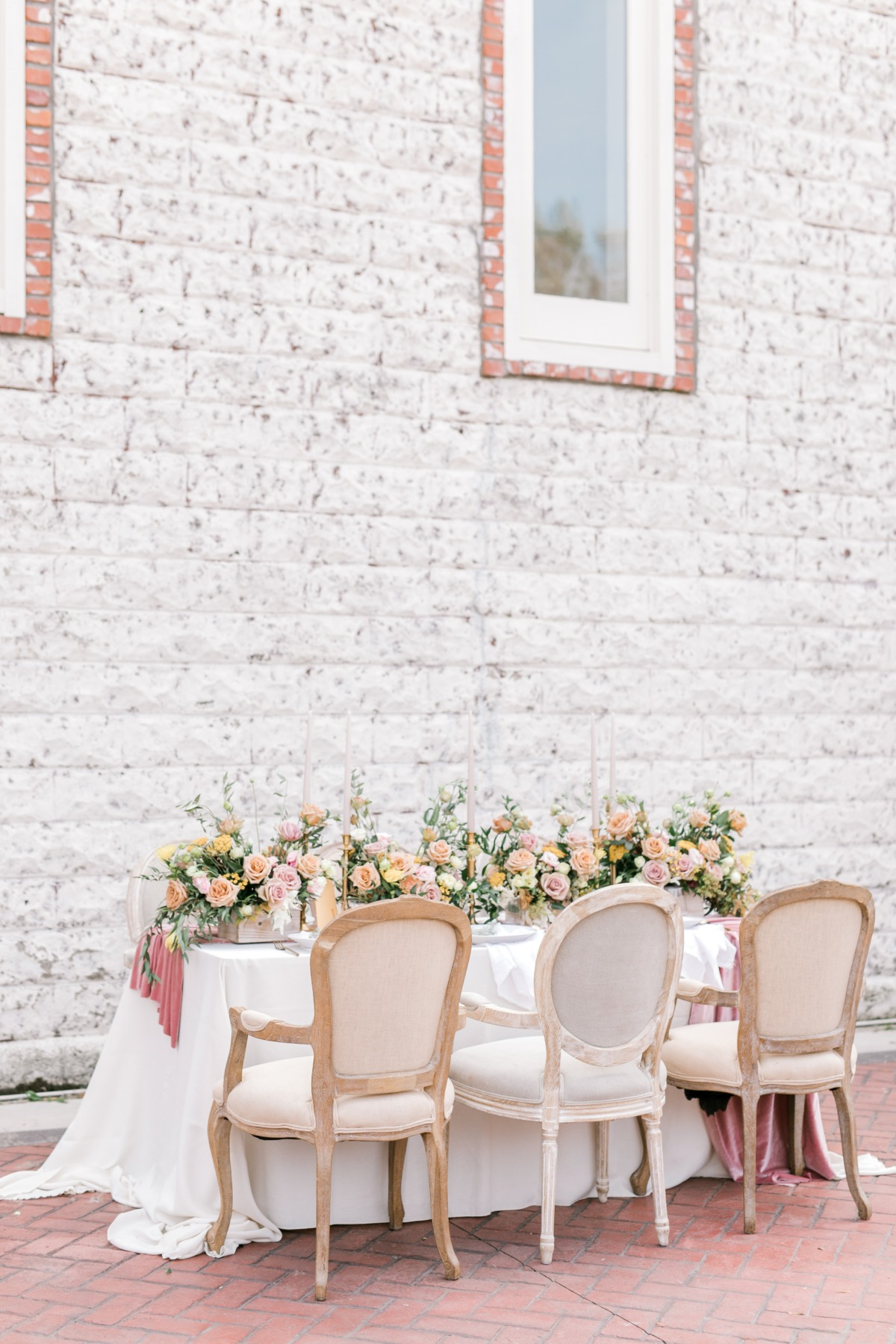 romantic soft pink wedding table