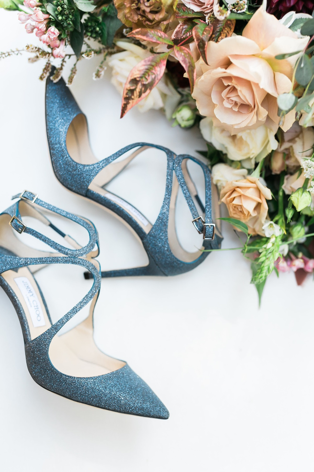 glittery blue wedding shoes