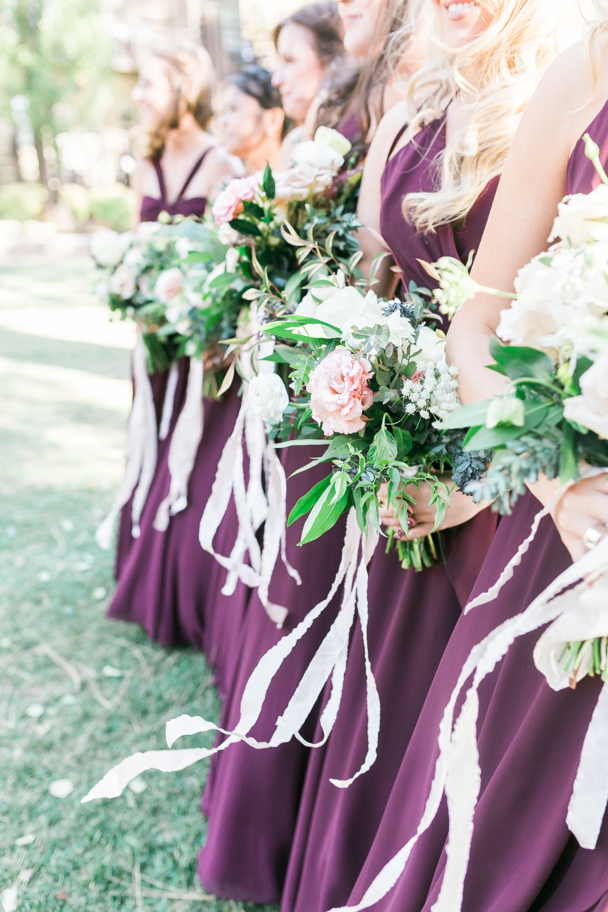 bridesmaids in plum