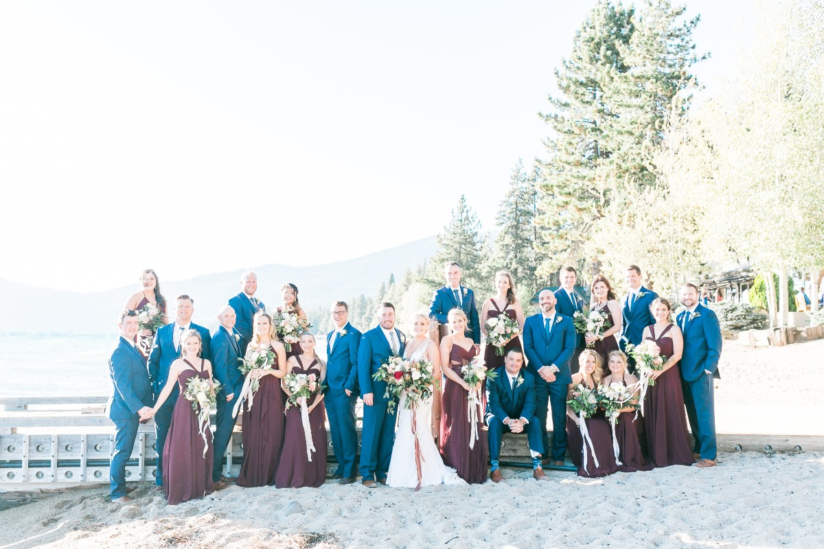 plum and blue wedding party