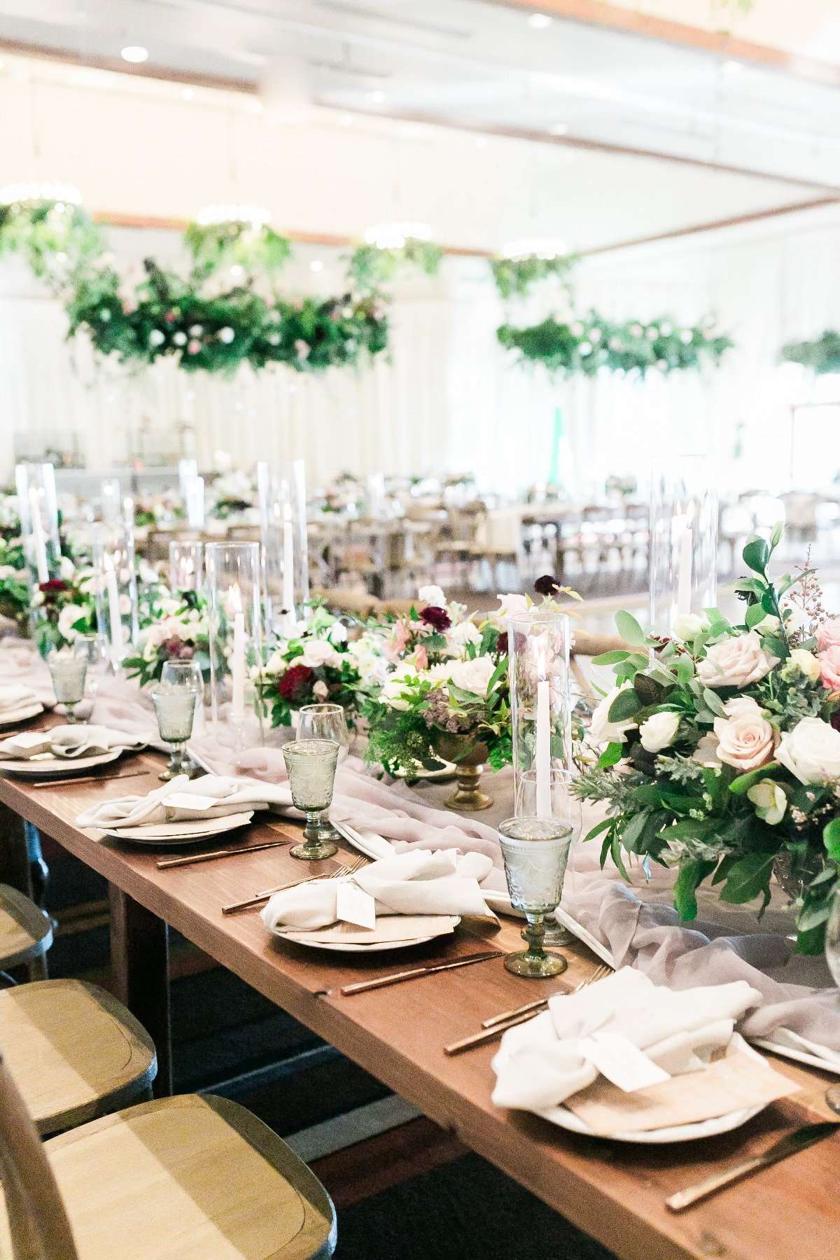 blush and gold elegant fall wedding reception