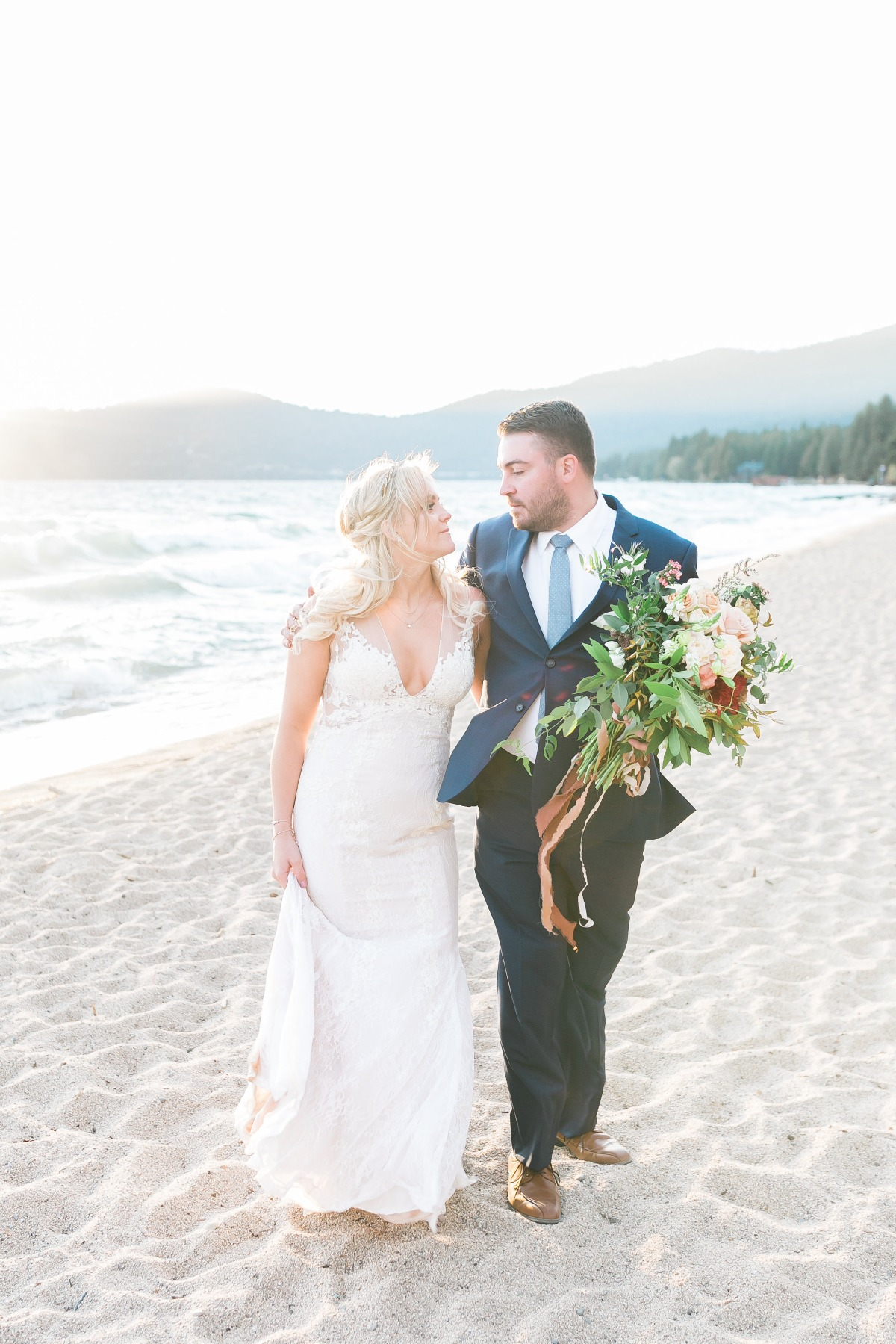 just got married on the shore of Lake Tahoe